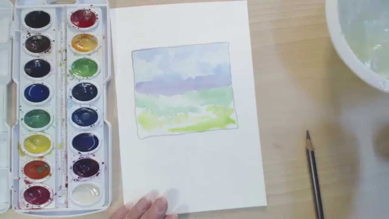 Watercolor Lessons For Children Simple Landscape Cp Kids Art