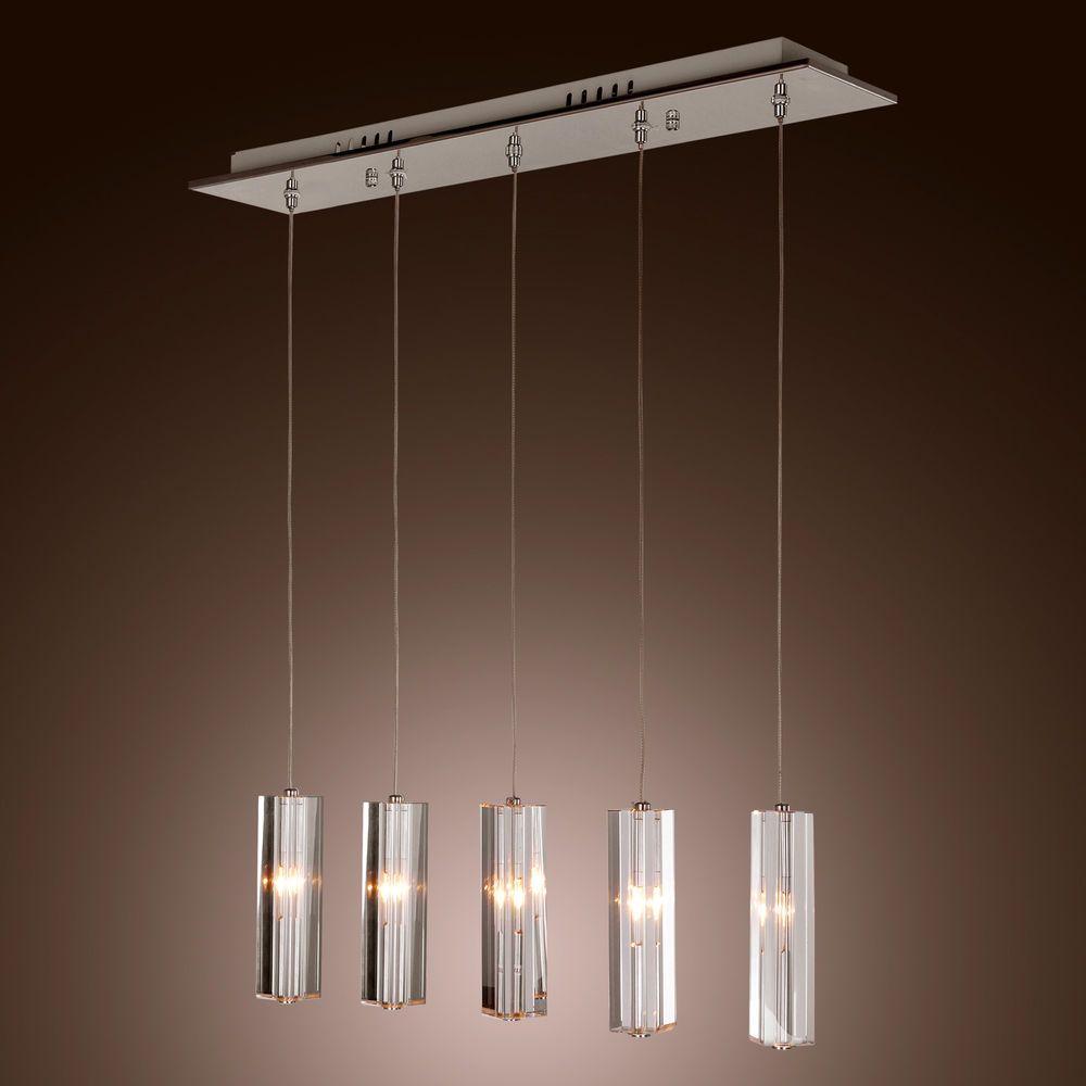 Chrome Stainless Steel 5-Light Mini Bar Pendant Light with K9 ...