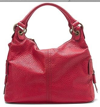 JESSICA SIMPSON RED GOLD FAUX LEATHER TOTE HANDBAG GREENWICH NEW