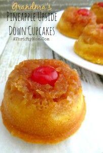 Pineapple Upside Down Cupcakes just like Grandma use to make, easy cupcake recipes, fruit cupcakes, dessert recipes