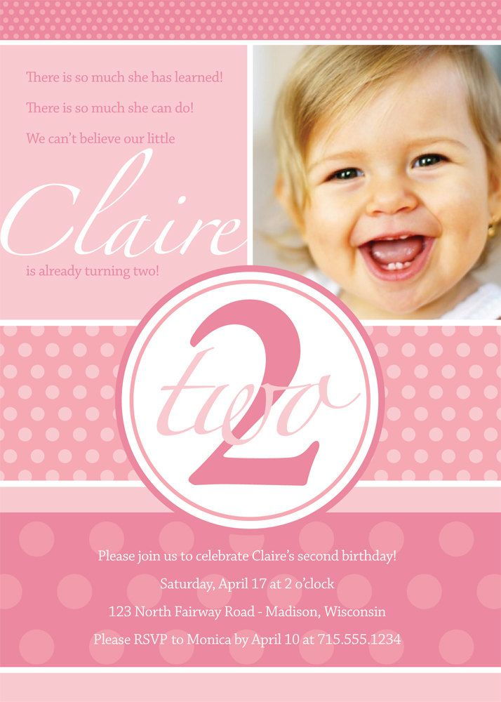 Second Birthday Purple Dots Custom Photo Invitation