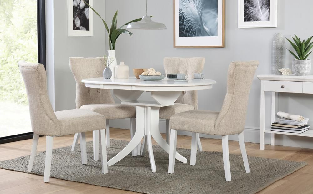 Hudson Round White Extending Dining Table With 6 Bewley Oatmeal