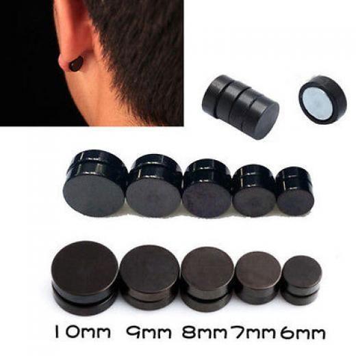Black Round Magnetic Clip On Ear Stud Earrings No Piercing Mens Women Goth Drop Dangle