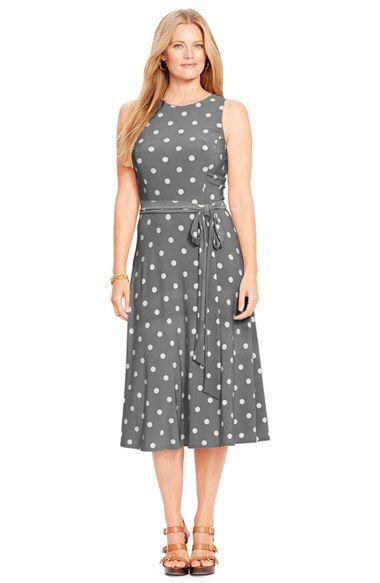 Lauren Ralph Lauren Polka Dot Belted Jersey Midi Dress (Plus Size)  available at #Nordstrom