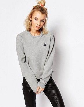 4912abcd4c Le Coq Sportif Oversized Fit Gray Logo Sweatshirt | Amanda ...