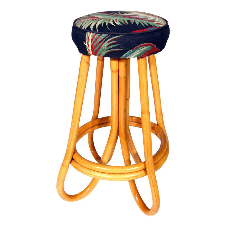 Pair Of Four Pole Bent Leg Rattan Bar Stool | From A Unique Collection Of  Antique