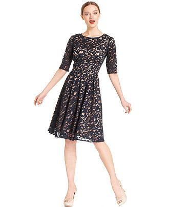 Adrianna Papell Dress Elbow Sleeve Pleated Lace Knee Length Dresses Macy S Dresses Adrianna Papell Dresses Womens Dresses