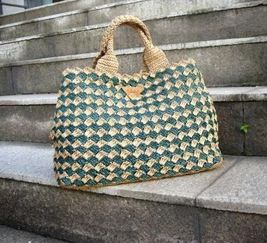 5051d726571489 Prada style crochet bag raffia bag diamond di auntieshirley, $85,00 ...