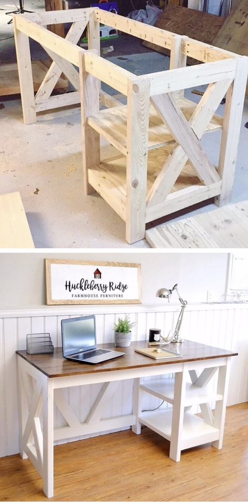 Office Desk Design Plans Farmhouse X Desk woodworking plans for the home office #desk #office