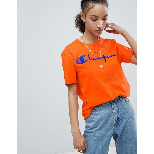 861bd6c8 Champion Crewneck T-Shirt With Script Logo (58 AUD) ❤ liked on Polyvore  featuring tops, t-shirts, orange, orange tee, crew-neck tee, retro t shirts,  ...