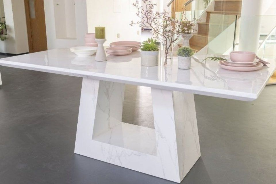 Milan White Marble Dining Table Rectangular 200cm Urban Deco Table Tablepainting Consoletable Tablelam Dining Table Marble Marble Dining Dining Table