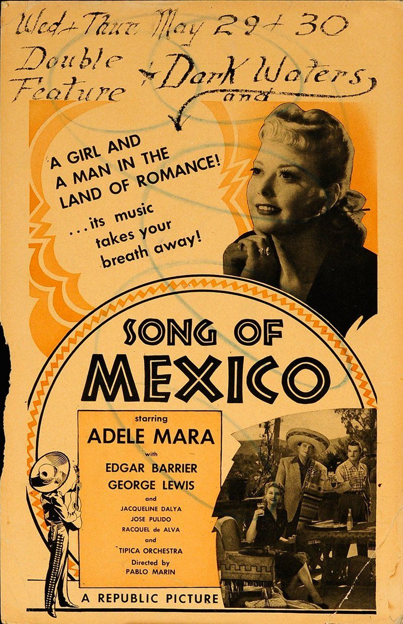"""Song of Mexico 1945 Authentic 14"""" x 22"""" Original Movie Poster Never Folded George J. Lewis U.S. Window Card 