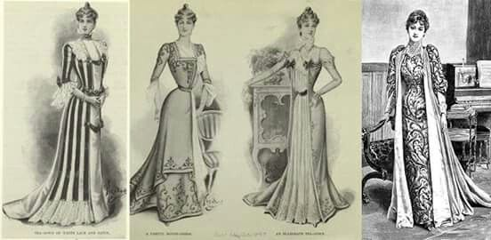 Edwardian tea gowns were designed to look like a robe worn over a dress, a crossover into evening wear. They could also be worn without corsets, made with flowing fabric and in the less restrictive designs of the earlier Victorian era.