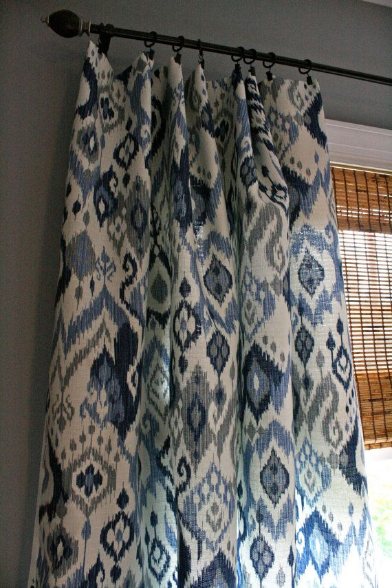 Blue And White Ikat Curtain Panel Custom Drapery In