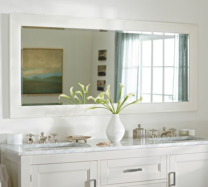 Master Bathroom Vanity Mirror Ideas decor look alikes | pottery barn classic double wide mirror