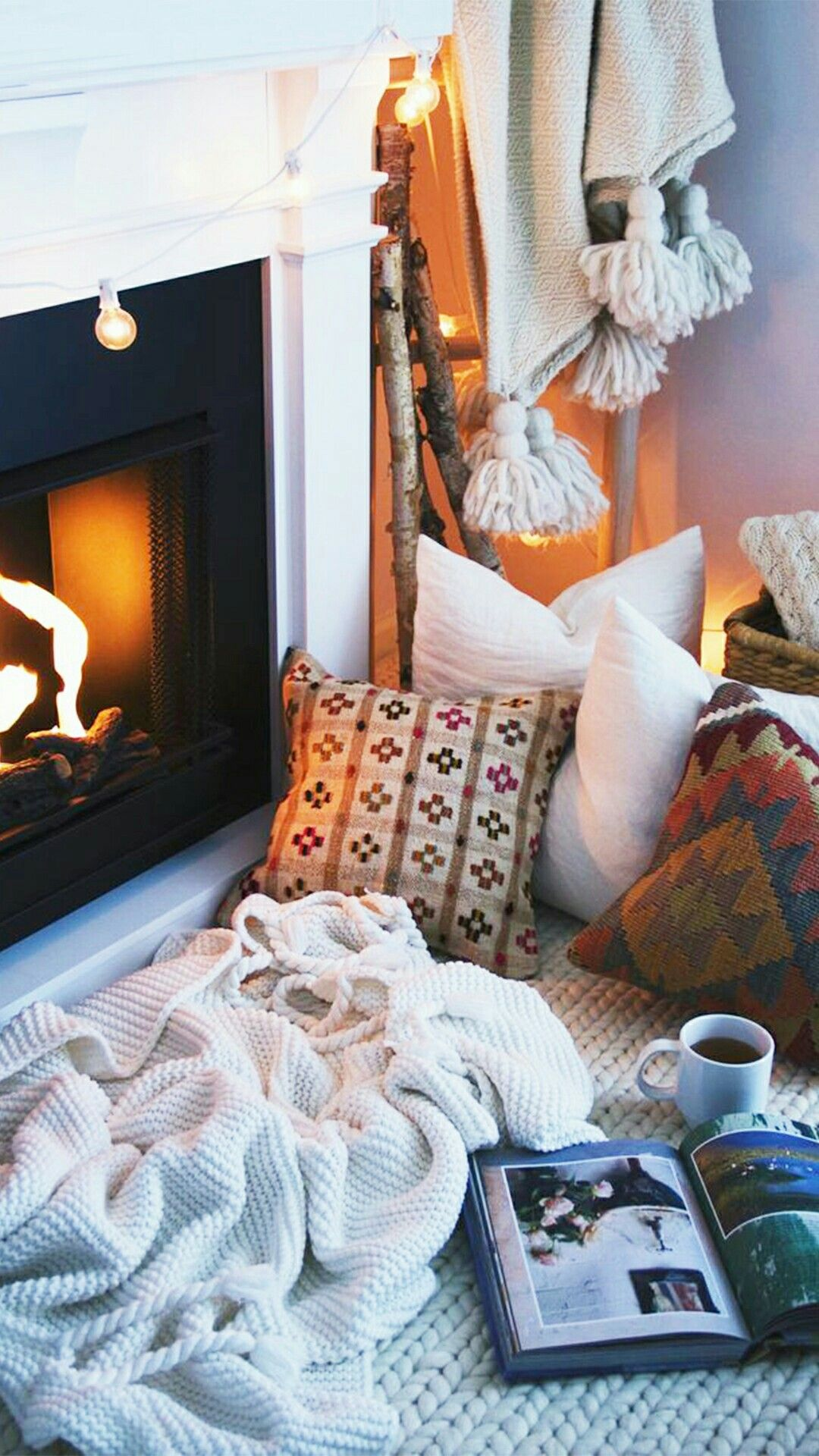 Winter Warm Snowflake Book Stay Cozy Coffee Hot Chocolate Cocoa Fireplace The Fire Blanket