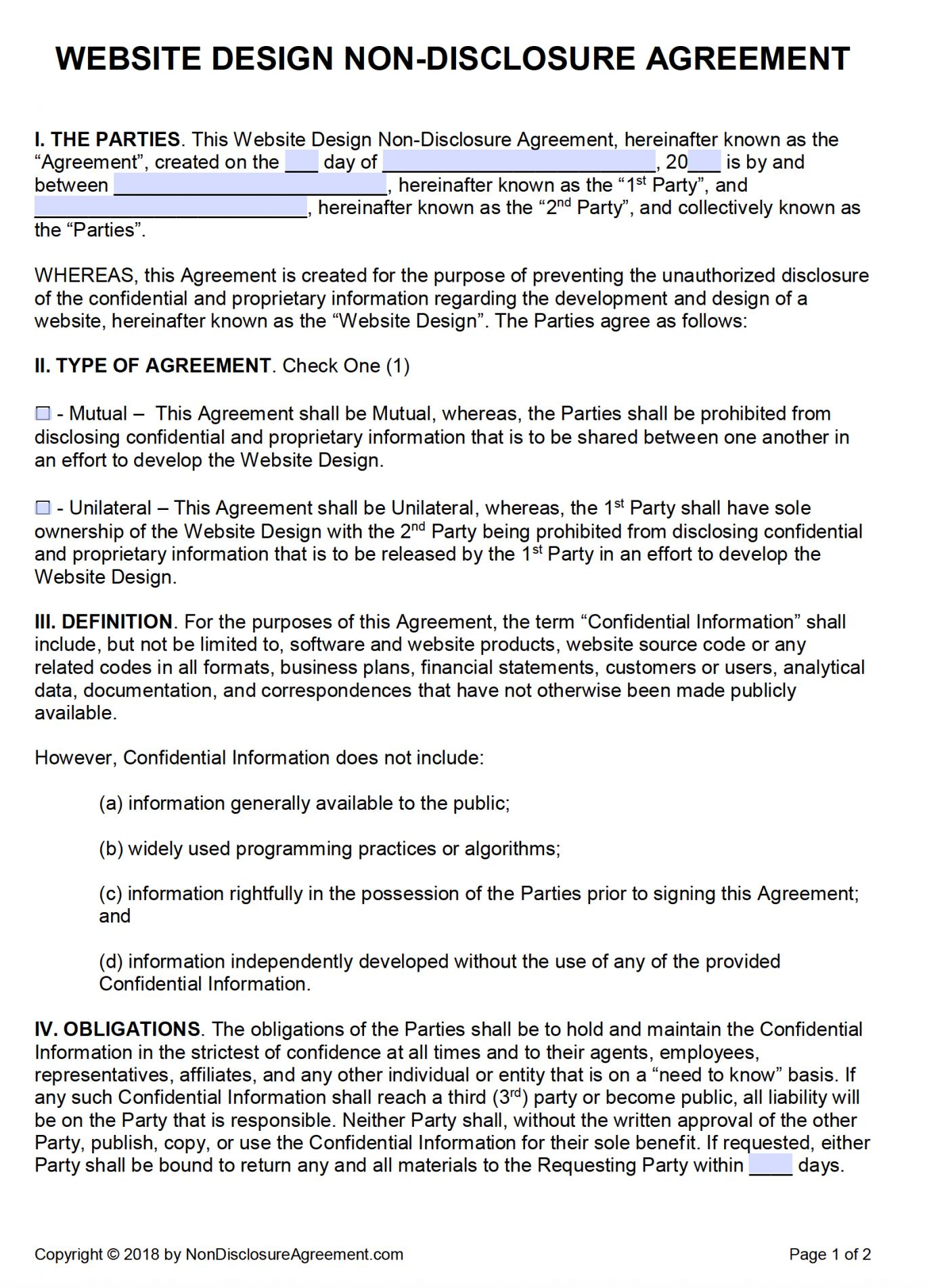 Get Our Example Of No Competition Agreement Template For Free Website Design Free Non Disclosure Agreement Website Design