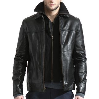 Tanners Avenue Men's Black Leather Jacket with Removable Fleece ...