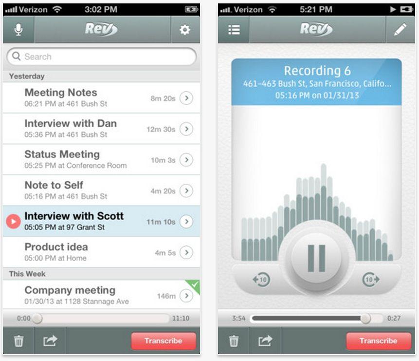 Rev Voice Recorder, grabar mensajes de voz fácilmente
