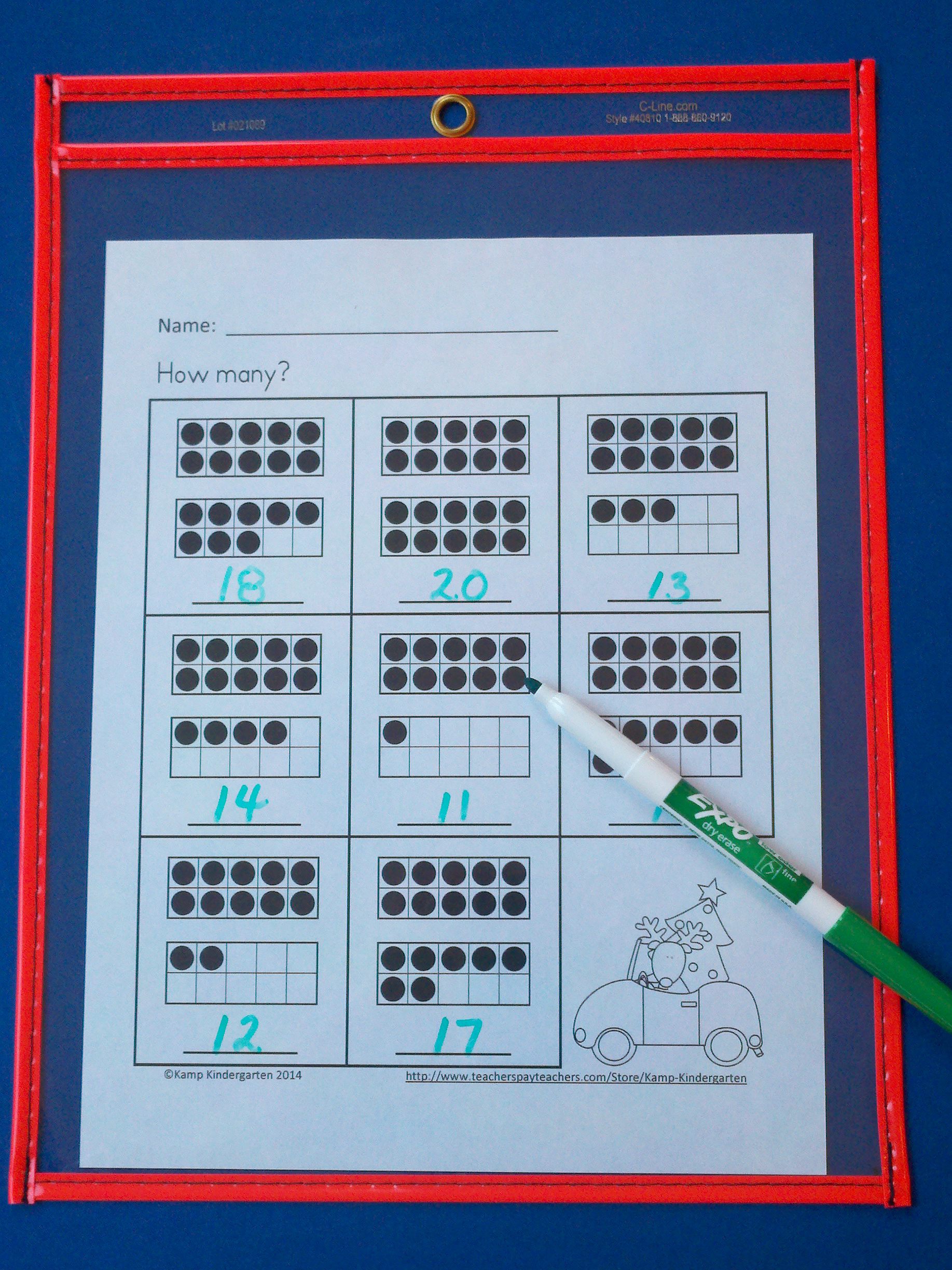 Christmas Ten Frames No Prep Printables Quantities Of 11