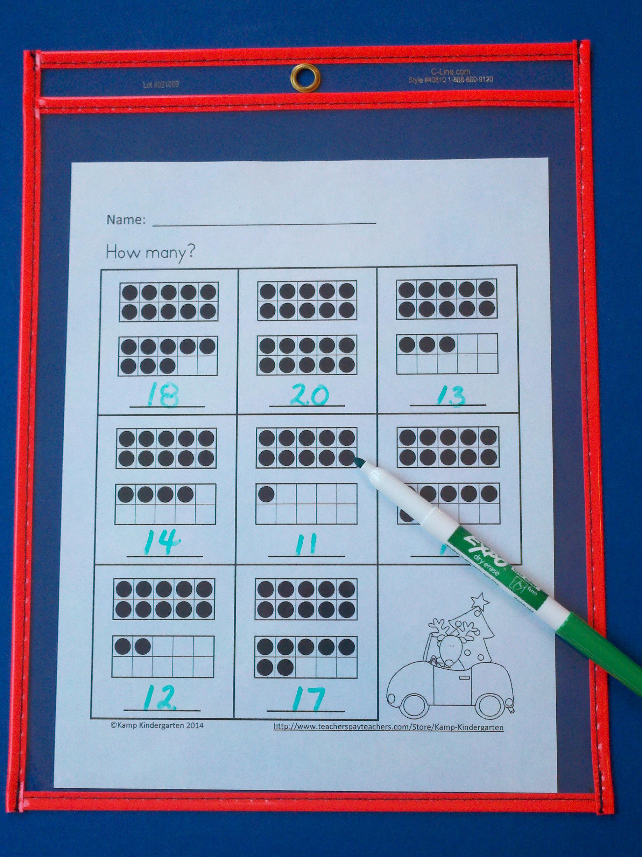 Christmas Ten Frames No Prep Printables (Quantities of 11 to 20 ...