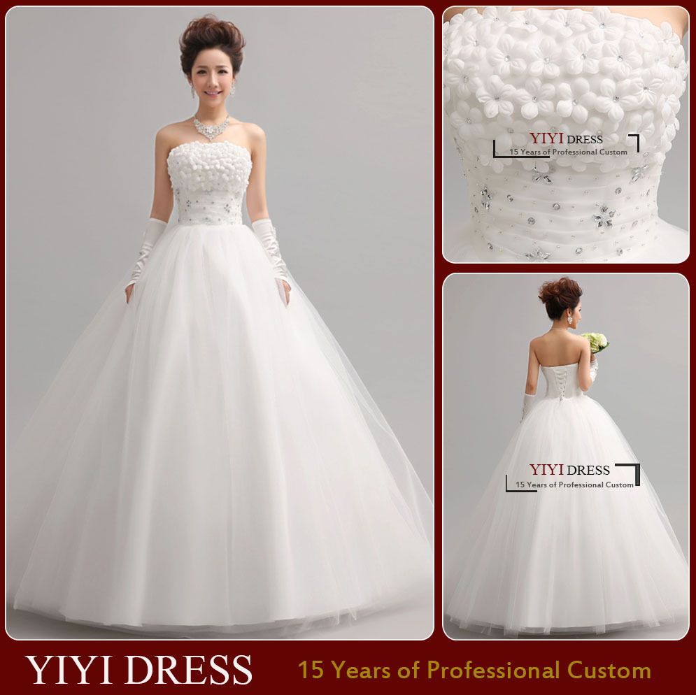 wedding dresses strapless neckline tulle with beads brides