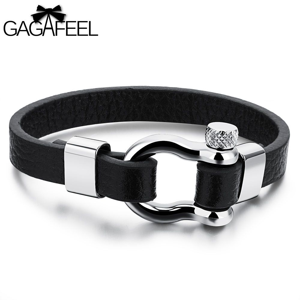 Unique cowhide leather bracelets cuff for men male fashion punk