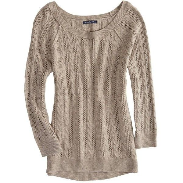 AEO Factory Cable Knit Crew Sweater ($15) ❤ liked on Polyvore ...