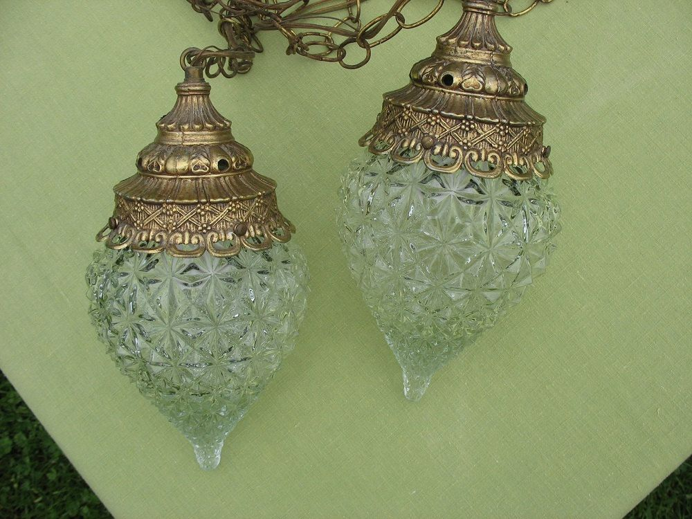 vintage swag lamp duo hanging light pendant light clear glass diamond cut pressed glass teardrop shape