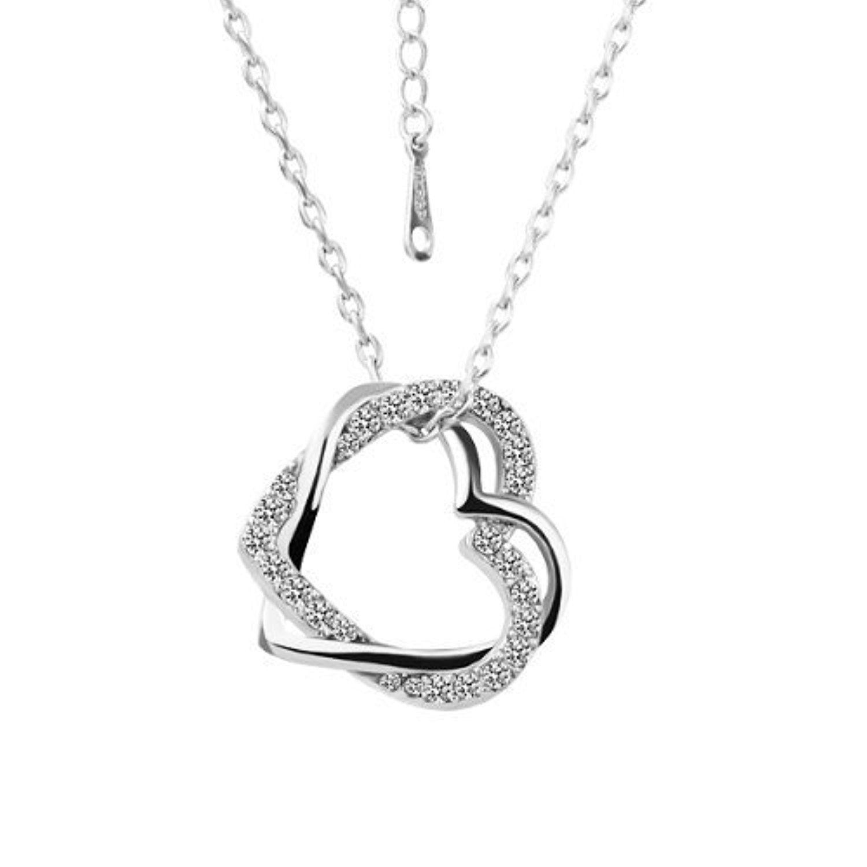 LEKANI Women White Gold Plated CZ Crysta Dual Hearts Pendant