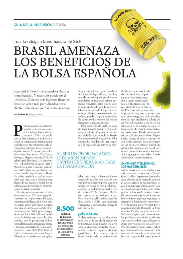 Brasil amenaza los beneficios de la bolsa española