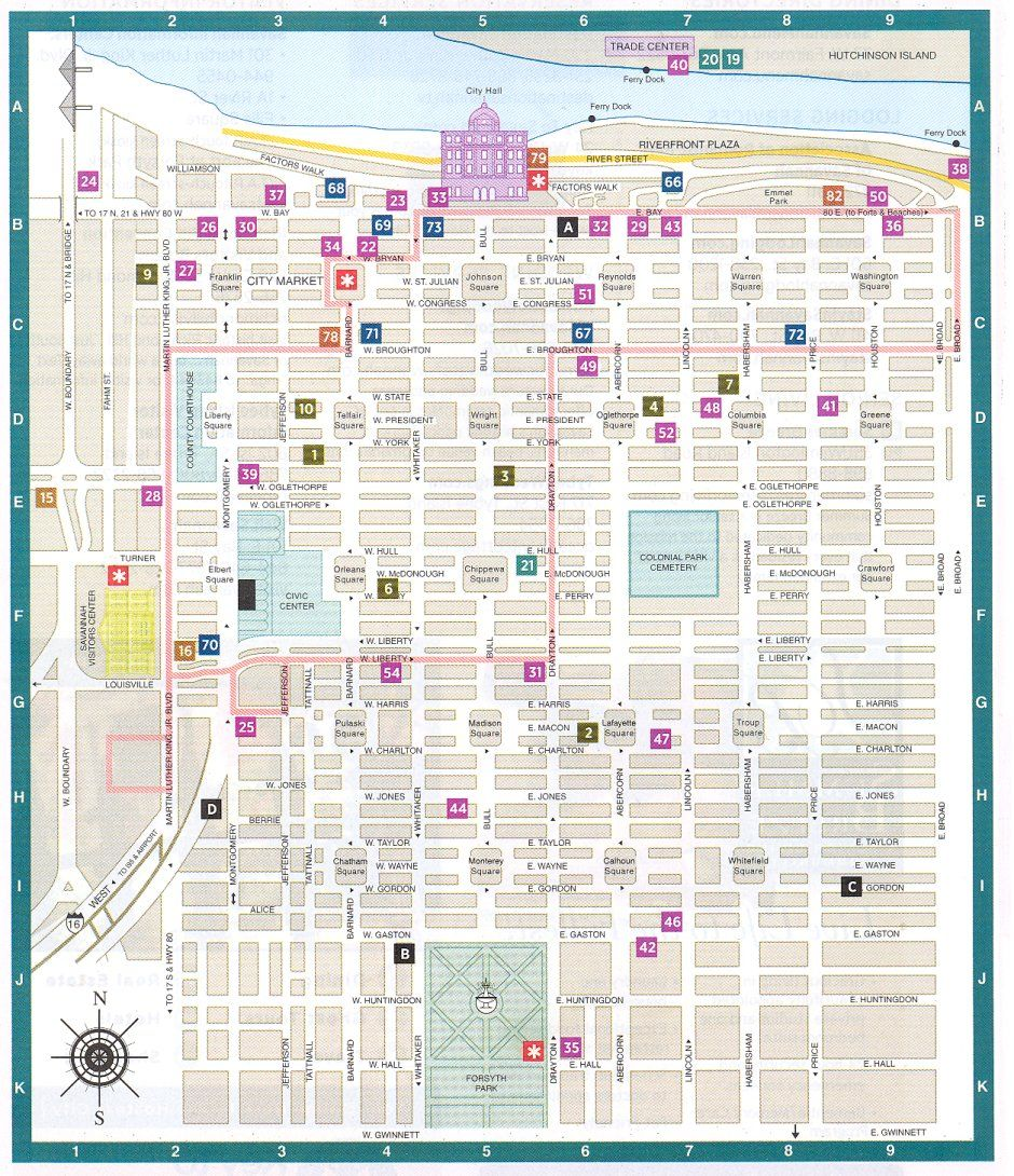 Savannah Ga Downtown Historic District Map Savannah Georgia