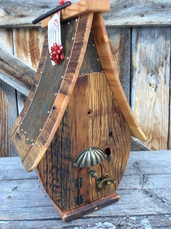 Einzigartige Vogelhaus Altholz Teardrop Recycling handgemachte Hochzeitsgeschenk #leiterdekoweihnachten