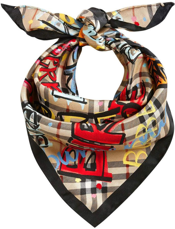 Burberry A Triangular Silk Scarf In Our S Inspired Vintage Check To Knot