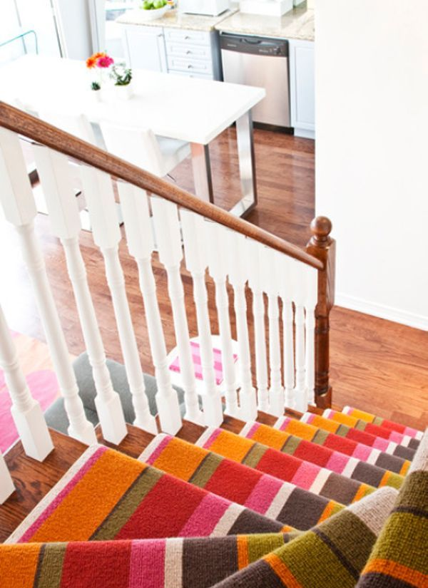 Attractive Decorate Your Stairway With A Striped Carpet Gallery