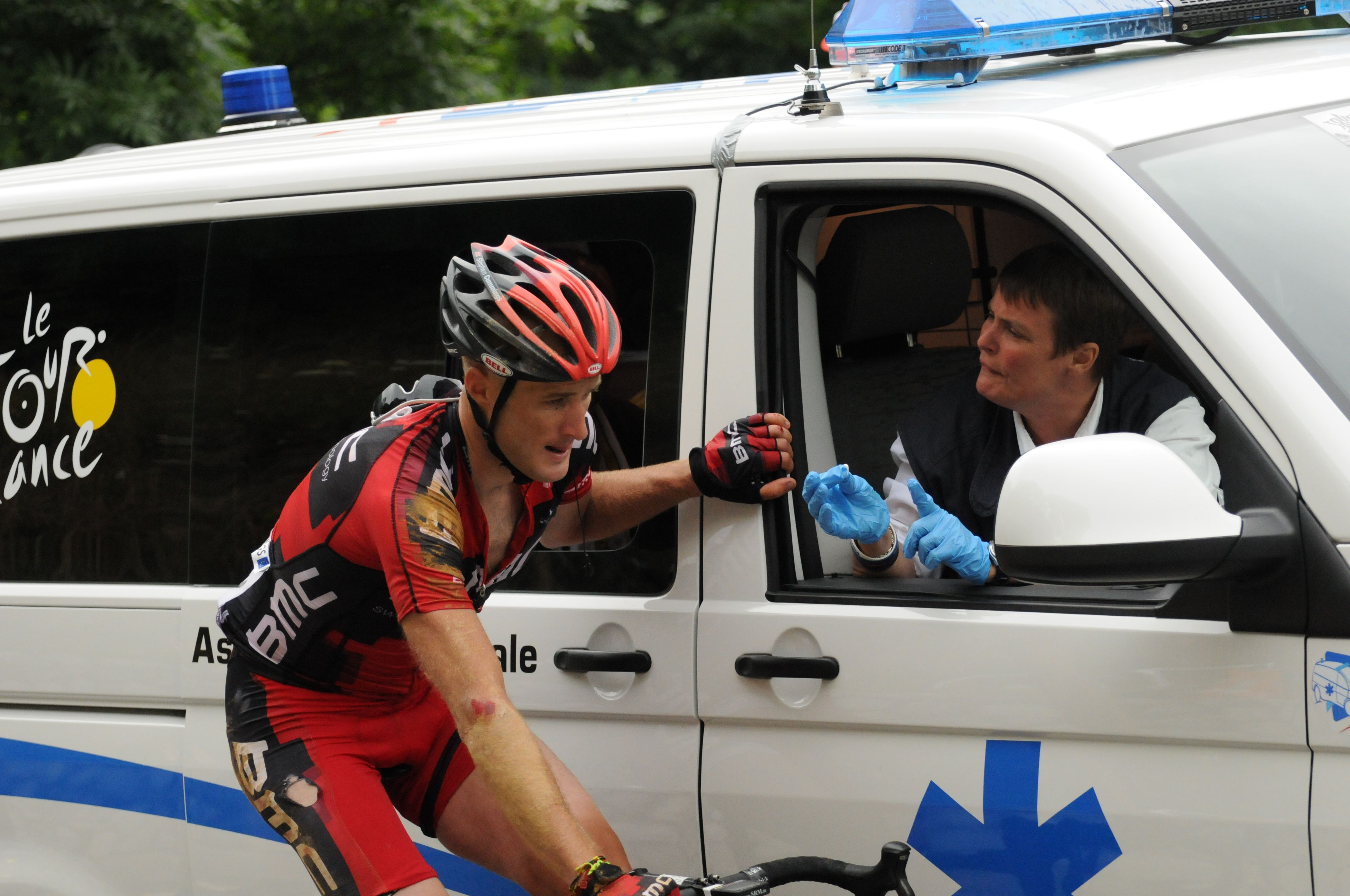BMC rider Steve Cummings receiving treatment at last year's Tour de France.   Publication - Spincycle magazine June 2013 http://www.spincyclemag.com/