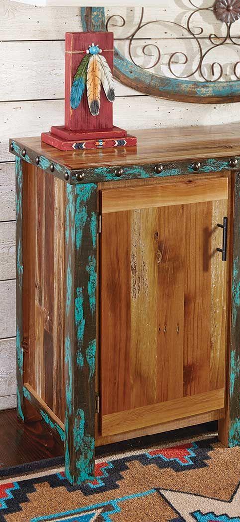awesome turquoise kitchen cabinets dining | Azure Barnwood Buffet Cabinet | Barnwood Dining Room ...