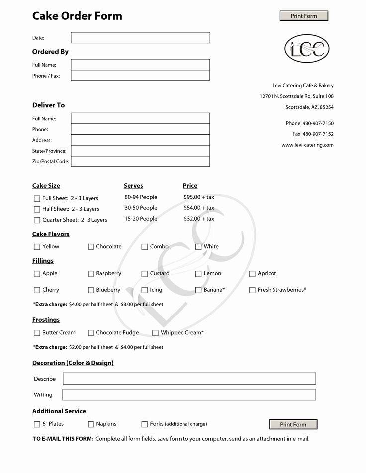 Cake order forms Printable New Cake order form for Bakery