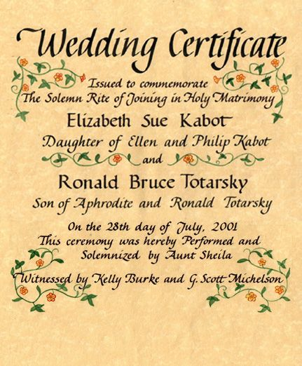 Wedding Certificates Quaker and Others sayings Pinterest