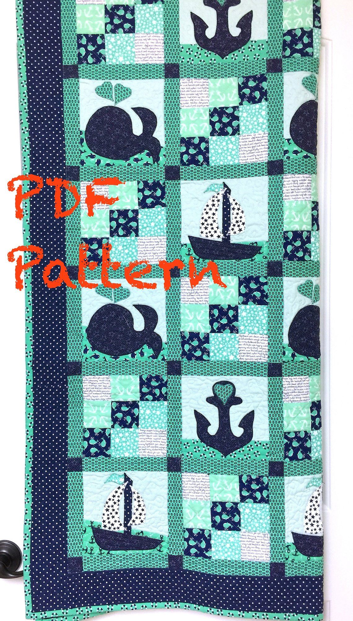 Nautical Baby Quilt Pattern, Sailboat baby boy Quilt Pattern