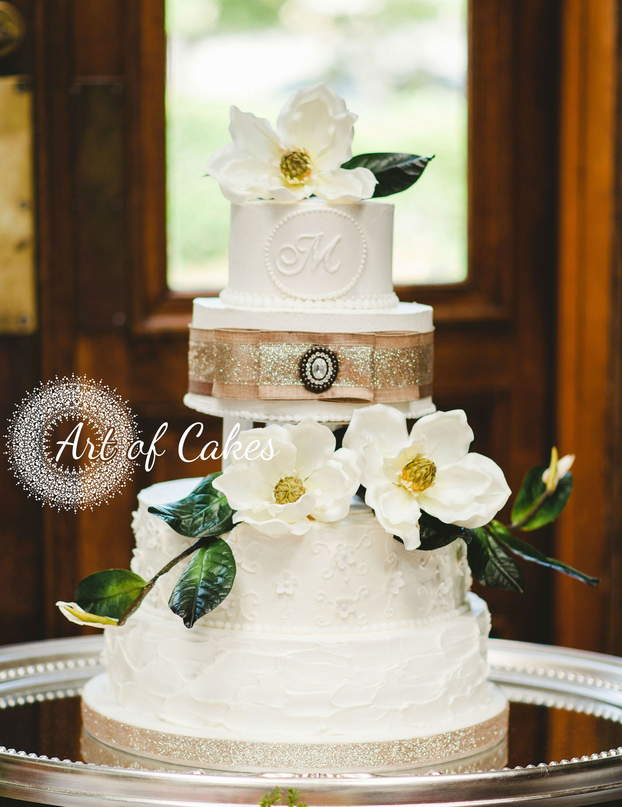 4 Tier Buttercream Wedding Cake With Magnolia Flowers At The Orangery In  Knoxville, Tn. Cake Made By Art Of Cakes In Maryville, Tn.  Www.artofcakesbakery.com ...