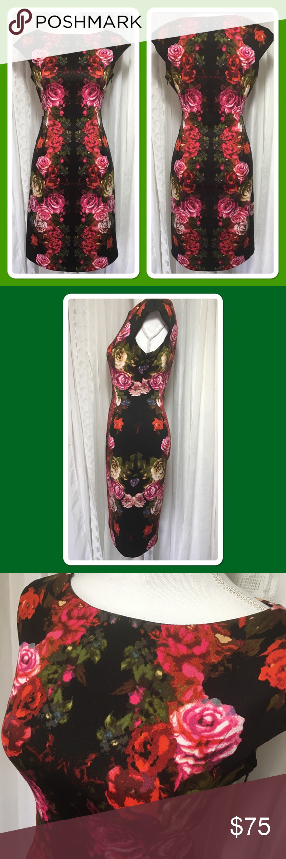 Maggy london black dress with roses size boat neck pink roses