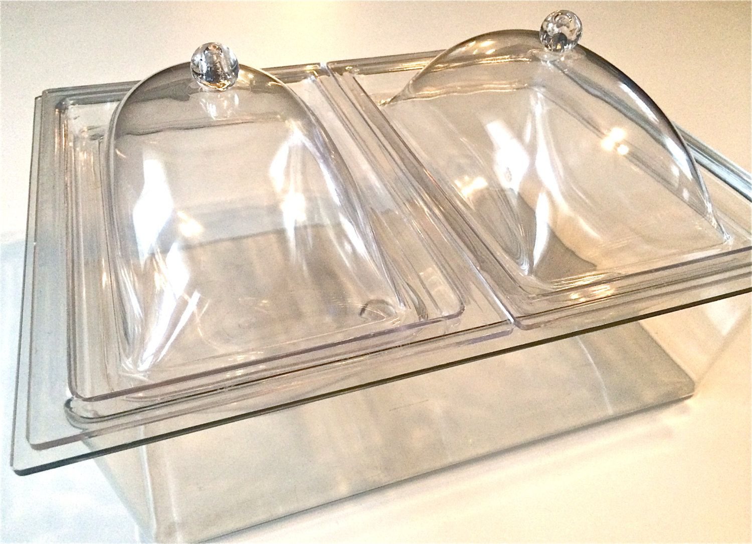 vintage lucite acrylic buffet server hot or cold foods by yatsdomino on etsy - Cold Buffet Server