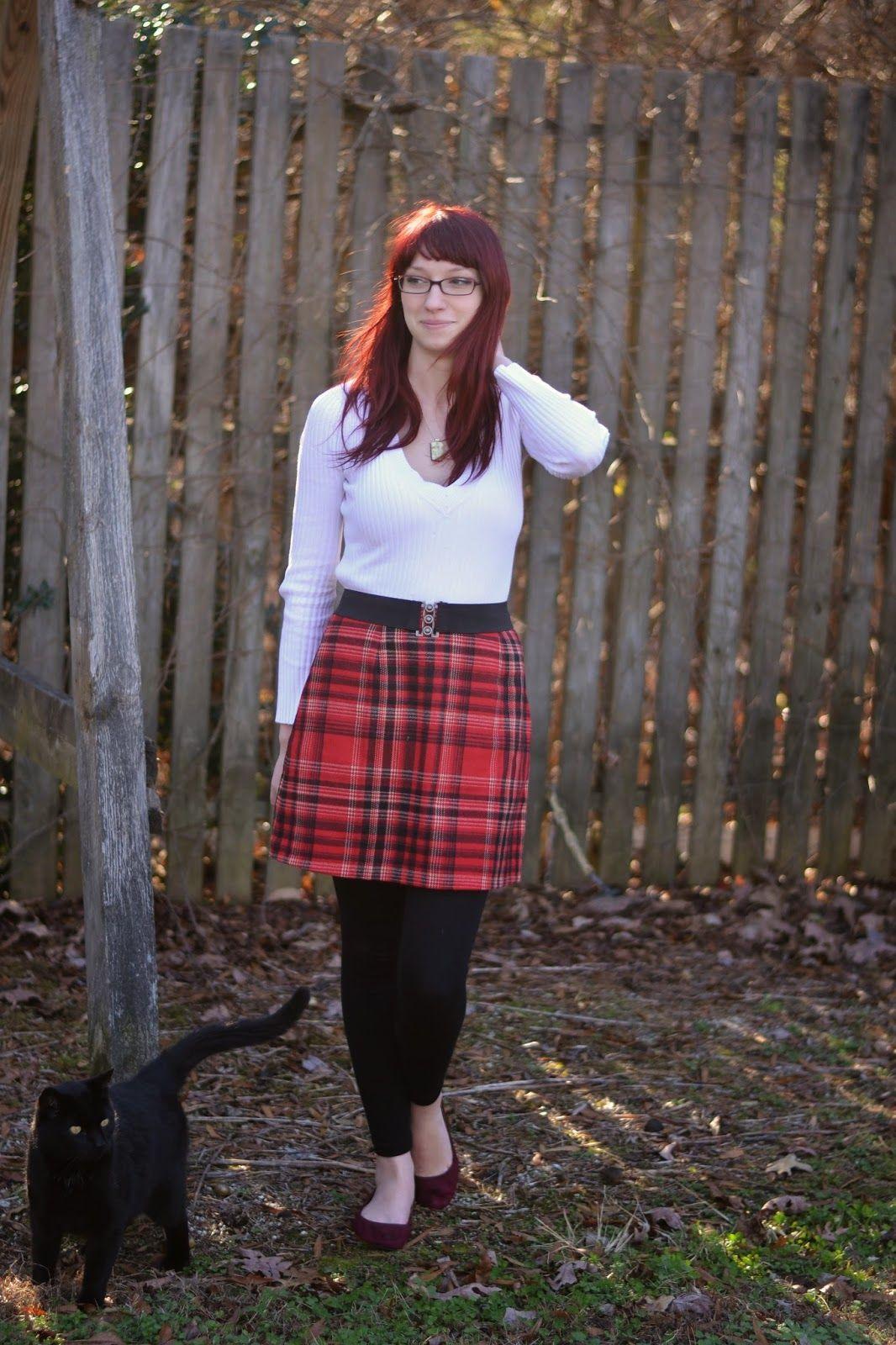 Red plaid skirt, White sweater, Black Leggings, Burgundy ballet ...