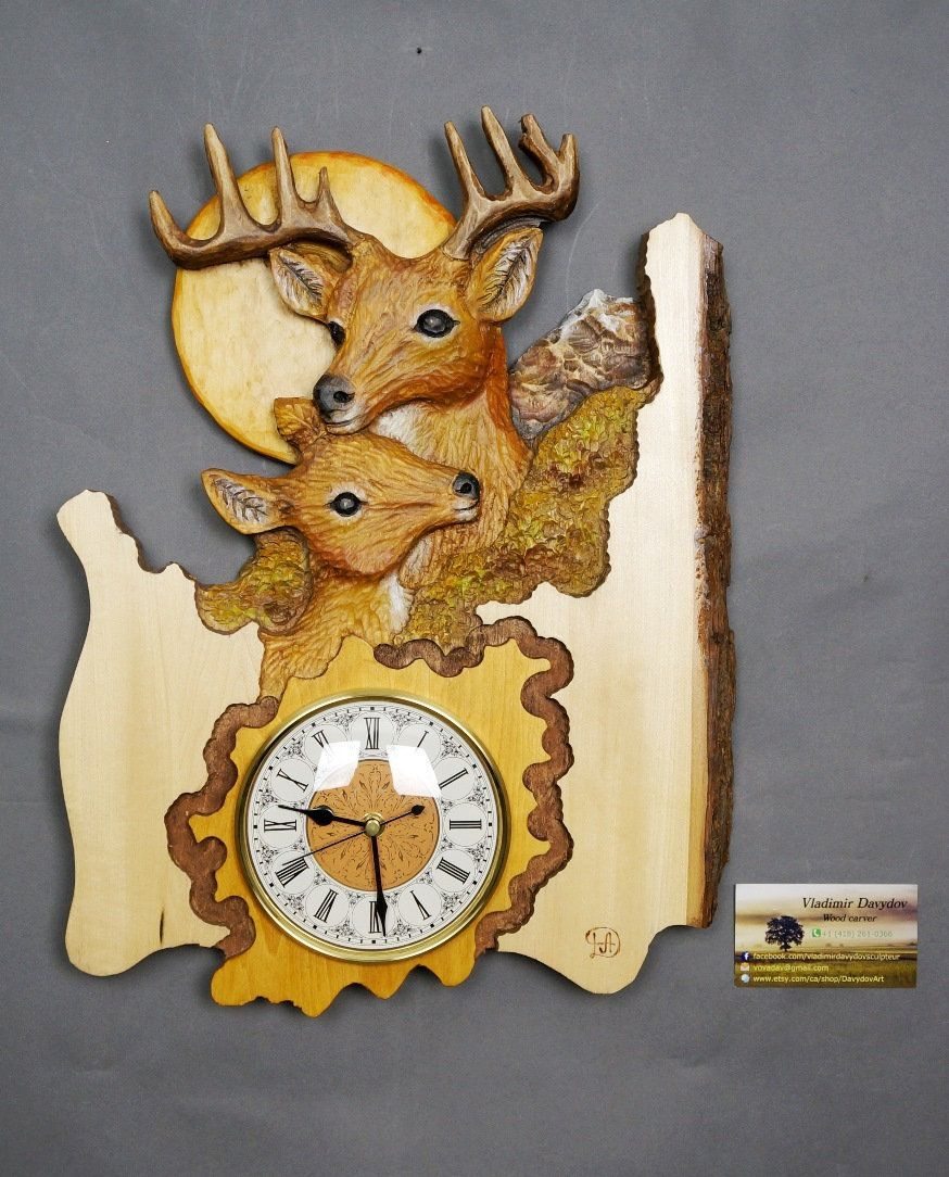 The Best Wedding Gift,Deer couple,Wall clock Wood,Carving with