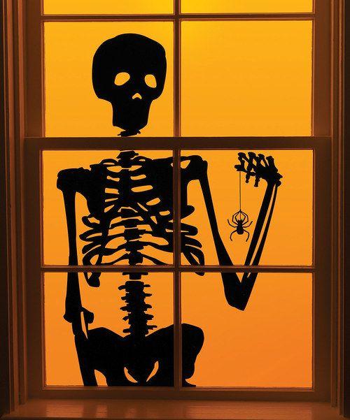 Skeleton window cling - ms Halloween Pinterest - halloween window clings