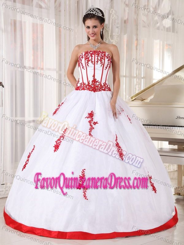ea0c3f4e0aa Modernistic White Satin Organza Quinceanera Gown Dress with Red Appliques