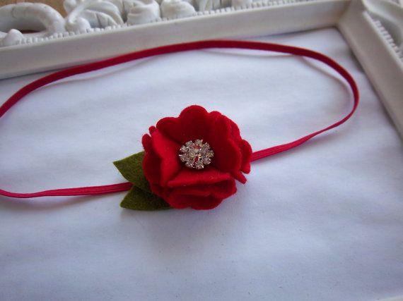 Red Petite Pom Wool Felt Flower Rhinestone by PrincessAvasBowtique, $6.50