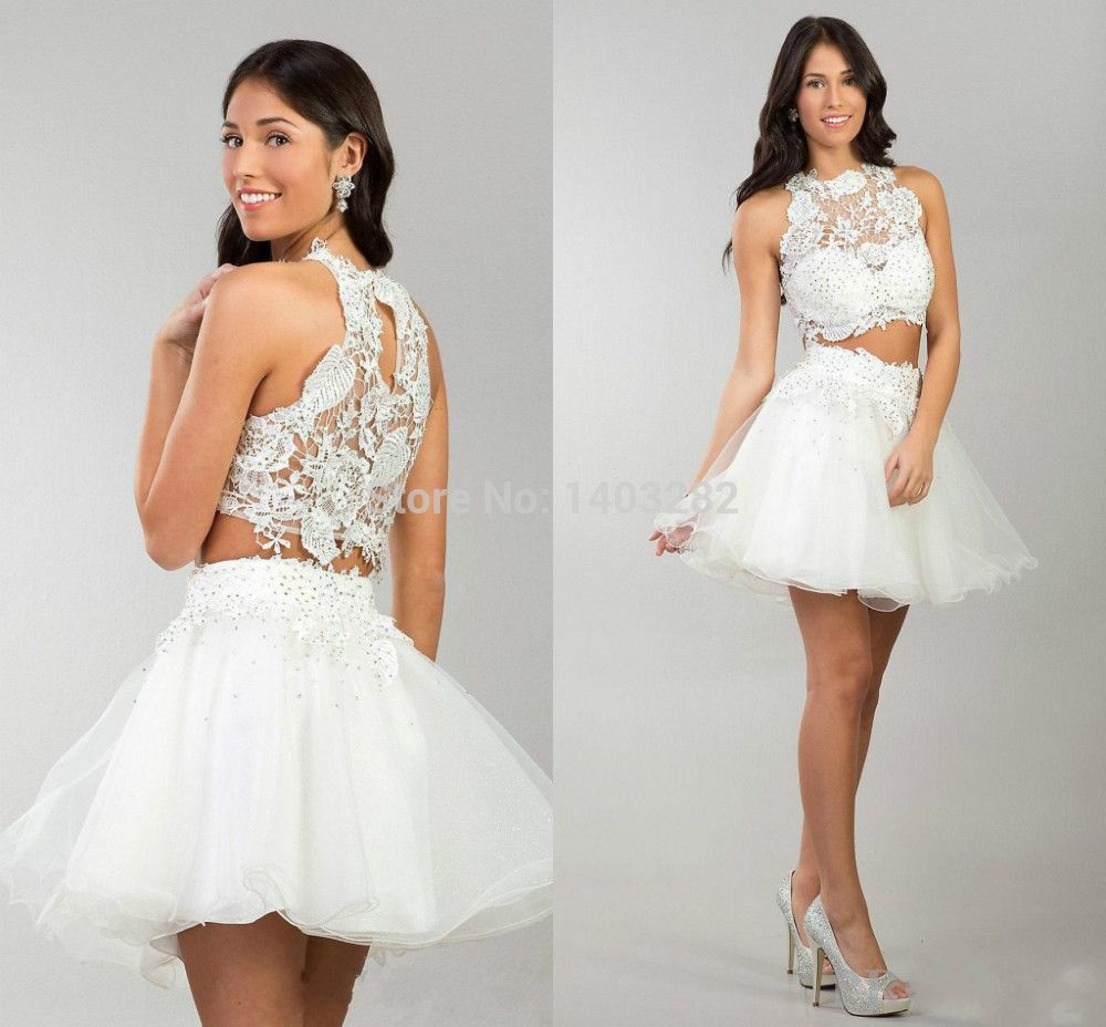 Short 2 piece 8th Grade Prom Dresses With Lace Ruffles ...