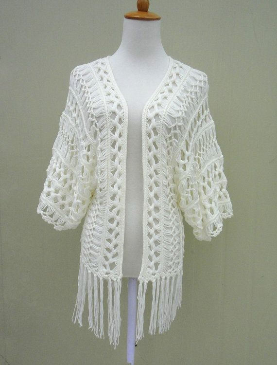 Fringe Crochet Beach Cover Ups Kimono Cardigan | Kimonos, Crochet ...